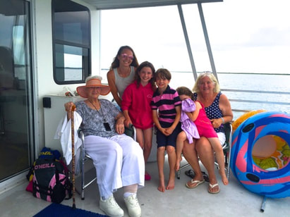 UK family onboard the the tour boat behind Ocean City, MD